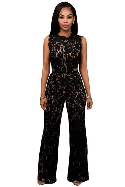 Place Jumpsuit lace illusion jumpsuit charming wear