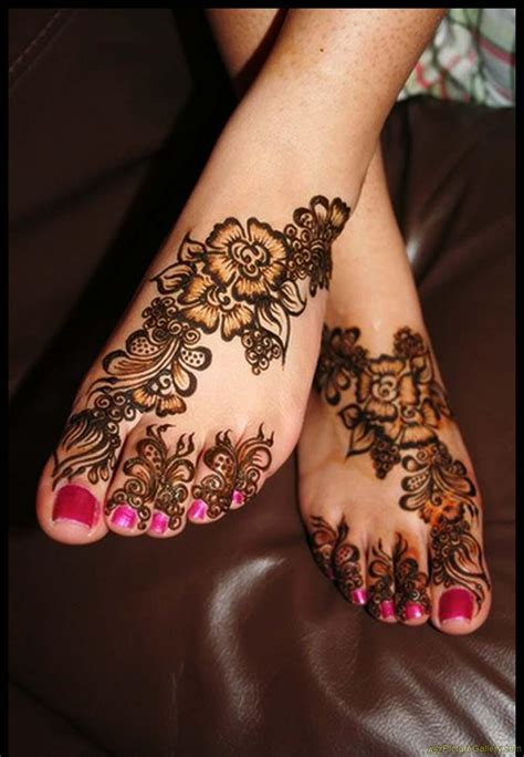 henna style foot tattoo flower henna designs design