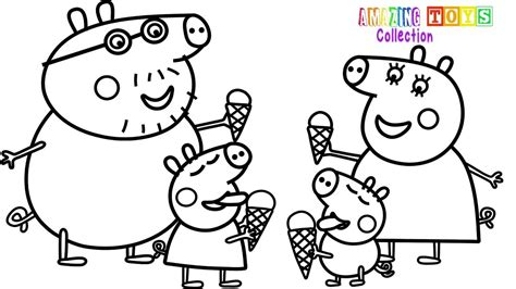 coloring page youtube how to draw peppa pig family ice cream coloring pages
