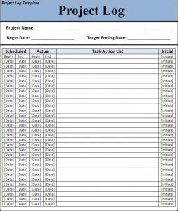 project journaling card template 7 free project log templates excel pdf formats