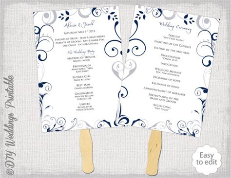 free wedding fan templates wedding program fan template scroll navy silver