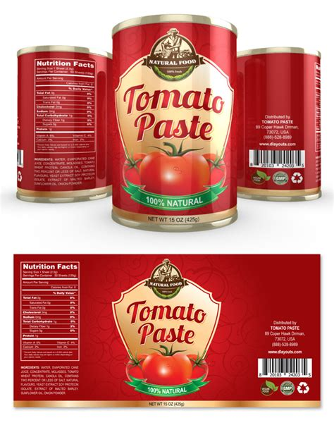 Tomato Paste Label Template Food Packaging Label Templates