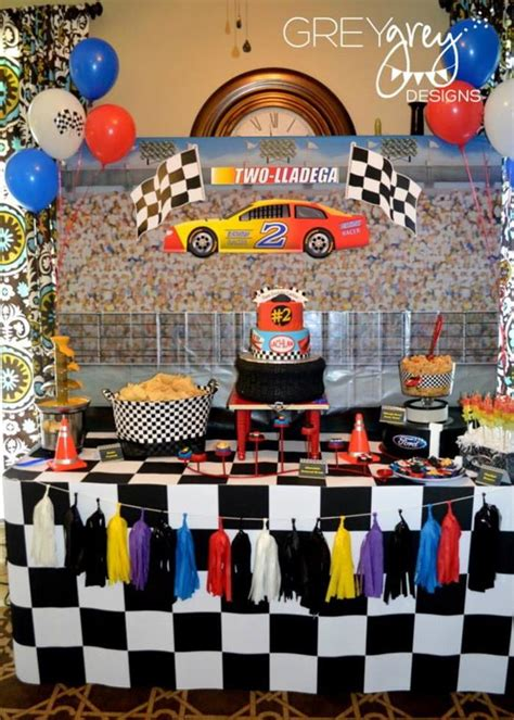 Racing Decorations Kara S Ideas Two Lledega Race Car With Lots Of