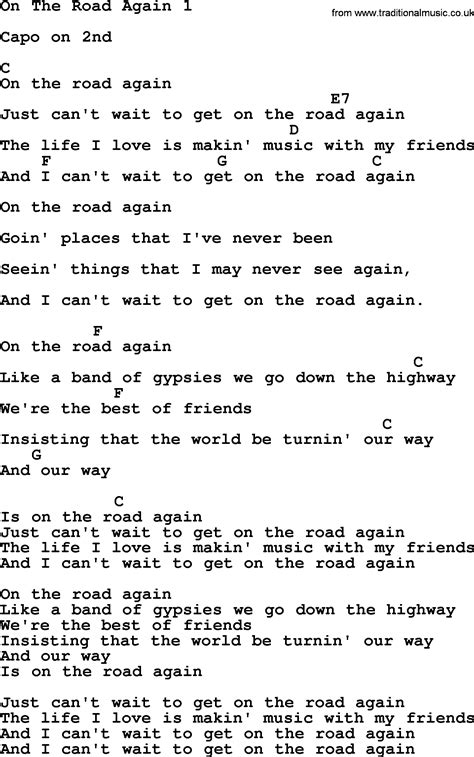 lyrics by willie nelson willie nelson song on the road again 1 lyrics and chords