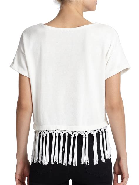 White Fringed Top lyst milly braided fringe top in white