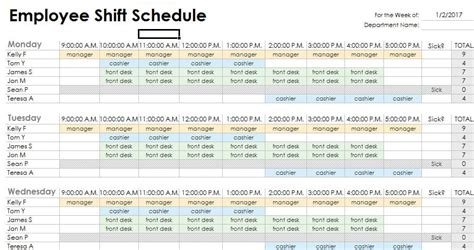 3 shift schedule template duty roster format for hotel employees project