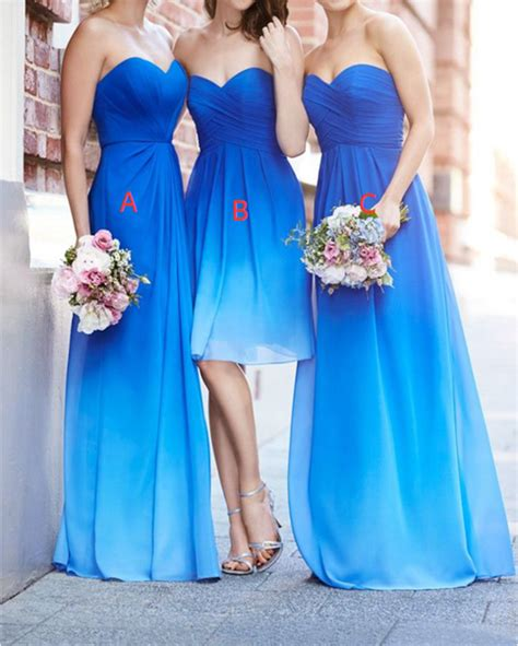 5 Bridesmaid Dresses For And Summer by Ombre Bridesmaid Dress Different A Line Royal Blue Ombre