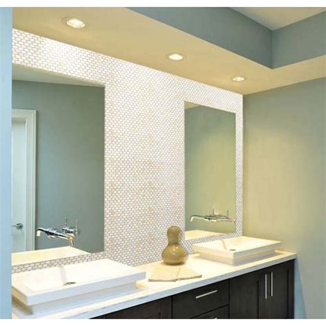 bathroom mirror tiles for wall mother of pearl tile bathroom mirror wall backsplash