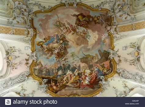 fresco baroque baroque fresco on the ceiling of the basilica stock photos