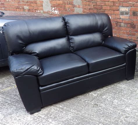 leather 2 seater sofa black