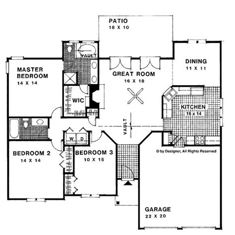 1500 sq ft ranch house plans home plans homepw03029 1 500 square 3 bedroom 2 bathroom ranch home with 2 garage bays