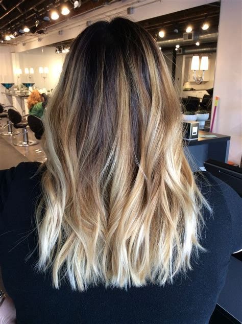 blonde brunette ombre photos ombr 233 balayage with dark brown root warm blonde balayage