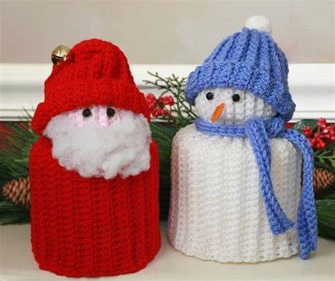 easy crochet christmas crafts simple santa and snowman tp toppers crochet patterns crochet crochet