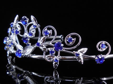 Hairband With Crown A42777 Blue royal blue flower children wedding prom