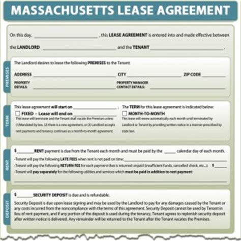 Massachusetts Lease Agreement Massachusetts Rental Lease Template