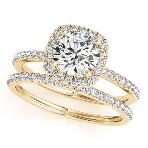 square halo bridal set ring band 14k
