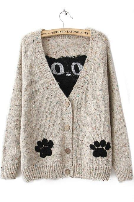 Jaket Caterpillar Sweater 2 white sleeve cat print cardigan sweater style cat printing and clothes