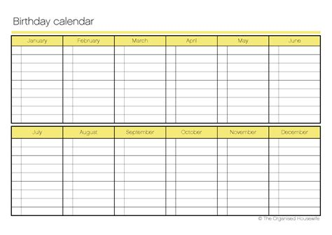 monthly birthday calendar template birthday calendar the organised shop