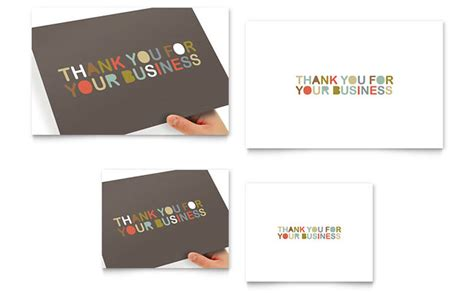 microsoft office thank you card template thank you for your business note card template design