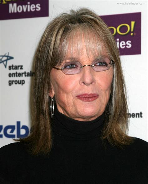 bangs that hide wrinkles diane keaton shoulder length hairstyle with thin bangs