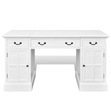 white pedestal desk vidaxl co uk white pedestal desk with cabinets