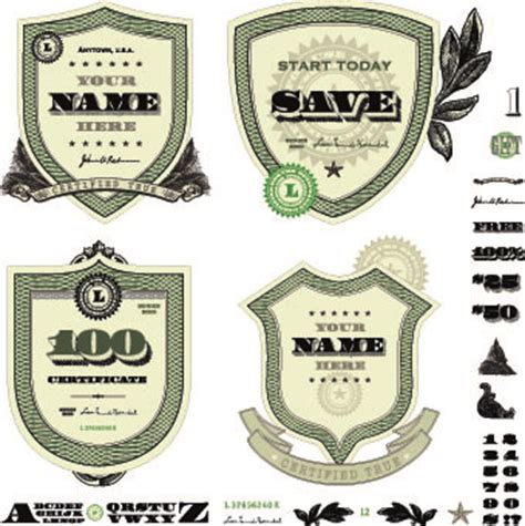 money template and label design vector 03 vector label