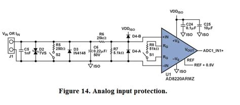 1n4148 diode frys purpose of capacitor and diode in analogue input protection circuit of adc electrical