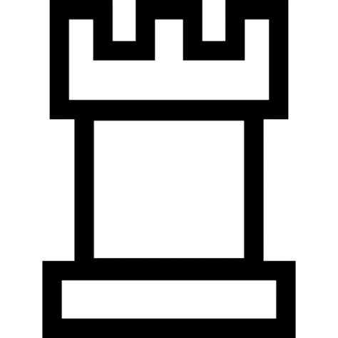 Chess Pieces Outline by Tower Black Chess Shape Icons Free