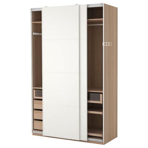 kleiderschrank 120 x 230 pax wardrobe white stained oak effect mehamn white