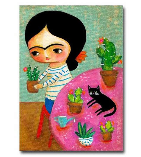 folk acrylic paint on canvas original painting frida with cactus and black cat folk