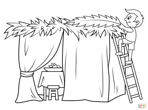 sukkot coloring pages boy builds a sukkah coloring page free printable