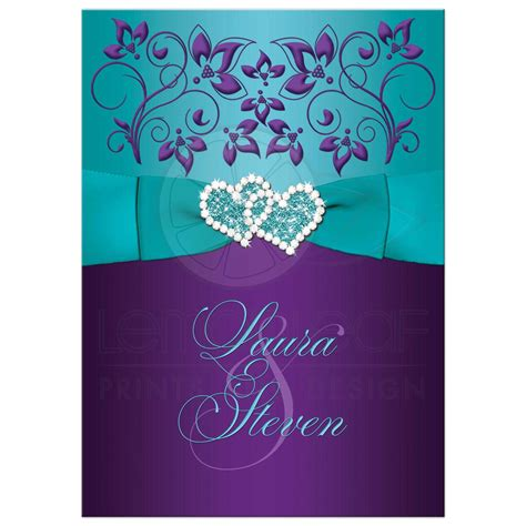 Purple Wedding Invitations by Wedding Invitation Purple Aqua White Floral Printed