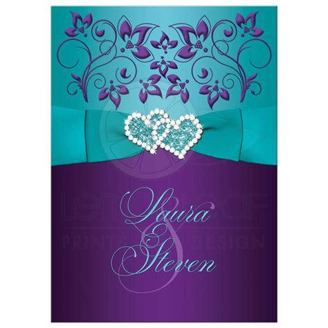 Wedding Invitation   Purple, Aqua, White Floral   PRINTED