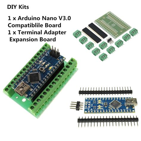 Arduino Nano 3 0 Ch340g Sudah Di Solder nano v3 0 ch340g atmega328 terminal adapter shield board
