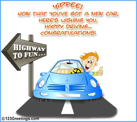 highway to fun! free new car & license ecards, greeting