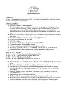 Sle Resume Cover Letter Transcriptionist Resume Sles Free Resumes Resume Format Transcriptionist Best Cover Letter