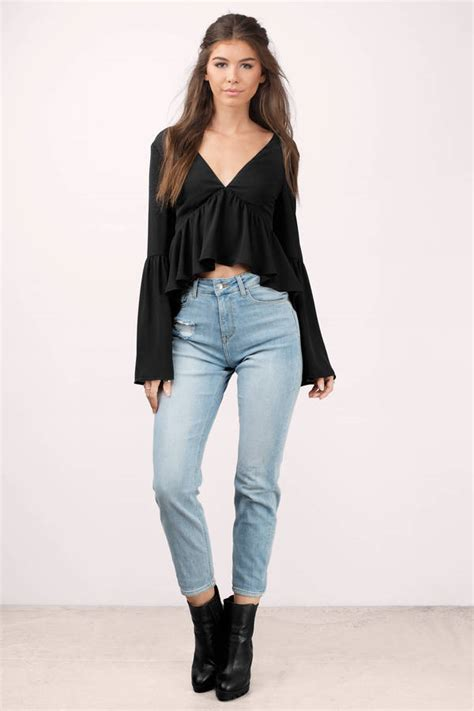 Lace Up Back Blouse black blouse lace up blouse bell sleeve blouse