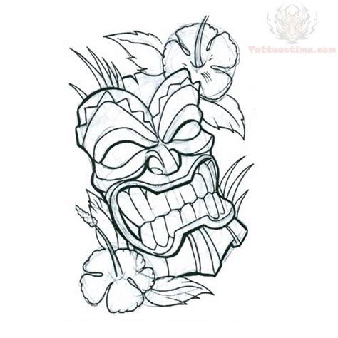 tiki tattoo designs tiki mask with flower design