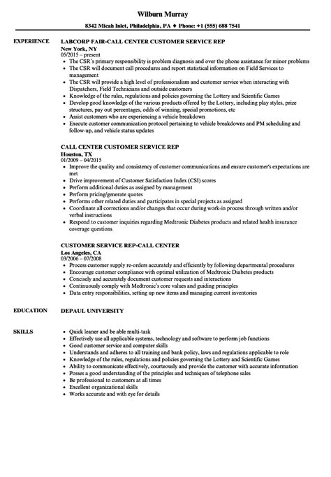 Customer Service Call Center Resume by Dorable Customer Service Call Center Resume Exles