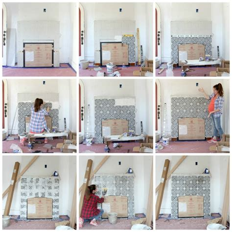 patterned fireplace tiles building a new fireplace patterned cement tile surround