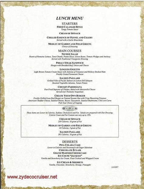 carnival spirit menus april 11 april 22 2010 b l
