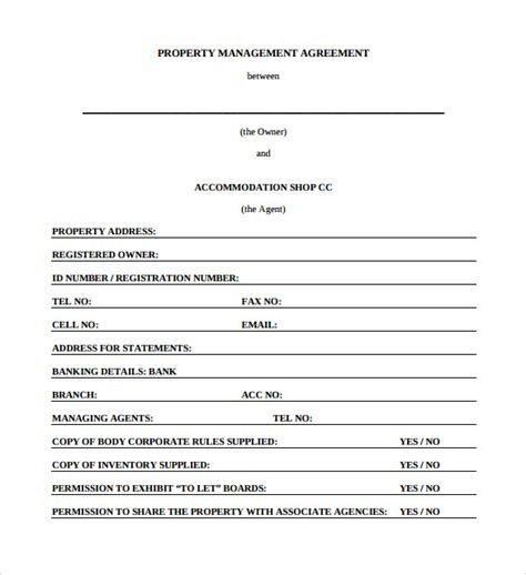 property management agreement template free sle management agreement 11 free documents in pdf word