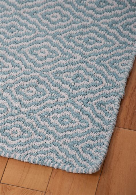 Savannah Eco Cotton Rug Light Blue And White Hook Loom Cotton Rugs