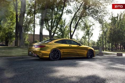 gold mercedes gold wrapped mercedes s500 coupe with zito wheels