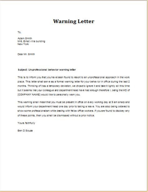 Bank Warning Letter To Customer Warning Letter For Unprofessional Behavior Word Excel Templates