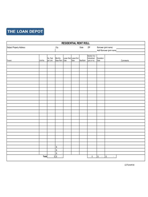 commercial rent roll template rent roll form 5 free templates in pdf word excel