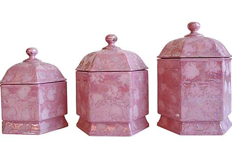 pink kitchen canisters pink ceramic canisters just because i love pink pinterest