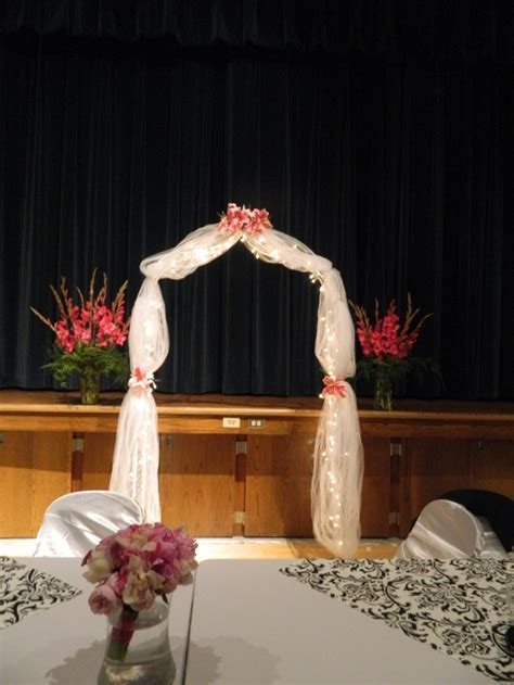 the wedding arch was decorated for a beautiful wedding