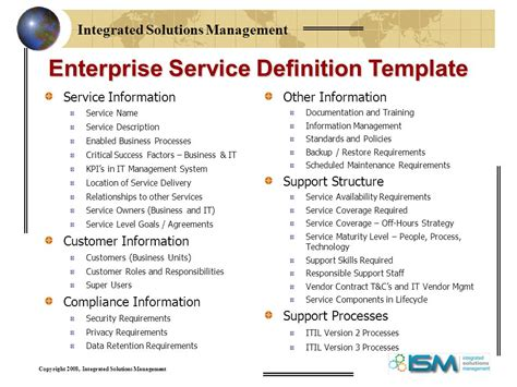service requirements template defining services for your it service catalog ppt
