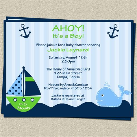 Baby Shower Nautical Theme Invitations by Template Nautical Themed Baby Shower Invitations